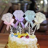 ingrosso decorazioni di torta di diamanti-Cinque per confezione Torta di compleanno Bandiera Natale Matrimonio Tavolo da dessert Decorazione Feste per feste Forma di diamante Colorato 1 2lh C1