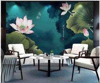 ingrosso casa di carta da parati di loto-3d carta da parati foto personalizzata murale sul muro cinese inchiostro loto tv sfondo Home decor soggiorno 3d murales carta da parati per pareti 3 d