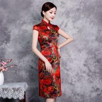 ingrosso ginocchia di abito rosso cinese-Red Plus Size XXXXL Rayon ginocchio lunghezza abito in stile cinese Vintage Ladies breve Qipao Classic Stage Show Elegante cheongsam femminile