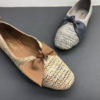 arbeit müßiggänger großhandel-Damen Frühlings Sommer Mode Loafer Echtleder Sohlen Bogen Dekor Stroh gestrickt Lässige Arbeitskleidung elegante flache Schuhe a10