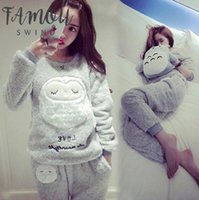 Wholesale round silver bells for sale - Group buy Thick Women Flannel Warm Female Winter Pajama Set Long Sleeve Full Trousers Pajamas Two Piece Traditional Animal Cartoon Owl