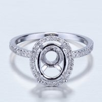 Wholesale white gold semi mount oval resale online - 10k White Gold Diamond Engagement Wedding Semi Mount Ring x9mm Oval Prong Set S625
