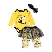 Wholesale baby long sleeve romper pattern resale online - Infant Baby Girl Halloween Costume Bow Long Sleeve Letter Pattern Romper Tutu Tulle Patchwork Pants Baby Party Clothes Outfits