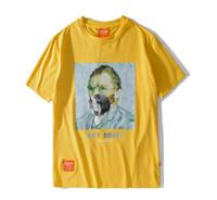 ingrosso camicia di combattimento collo del collo-Marca Uomo Divertente Fumo Van Gogh Cotone Stampato T-Shirt Manica Corta Oversize Hip Hop Casual Fidanzato Maglietta Tee NR05