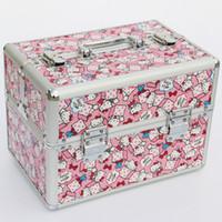 grandes cajas de regalo rosa al por mayor-Regalo de gran tamaño viaje de maquillaje profesional portátil joyero rosa del color de las mujeres de moda del caso del organizador del ataúd Porta Joias