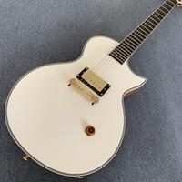 versand e-gitarre großhandel-Spezielle kundenspezifische Gitarre, weiße elektrische Gitarre, goldene Hardware, eine Aufnahme, Ebenholzgriffbrett, freies shipping.190507