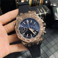 relógio de pulso offshore venda por atacado-Atacado de Moda Mens de Luxo Relógio Gravado em Aço Inoxidável Royal Oak Offshore Relógios de Designer Todo o Trabalho de Discagem Chrono Homens Esporte Relógio de Pulso