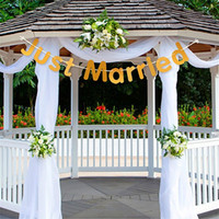 Wholesale cloth money resale online - JUST MARRIED String Of Flags Paper Quality Golden Exquisite Romantic Gradation Banner Rustic Wedding Decorations ECO Friendly jdD1