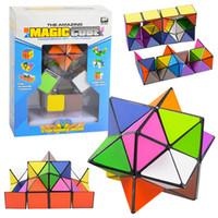 juego de cubos de juguetes al por mayor-5.5cm 2 EN 1 estrella geométrica del cubo mágico rompecabezas Transformación desmontable Cubo de la novedad de descompresión juguetes de los niños educativos juguete 2pcs / LA334 conjunto