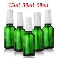 15ml grüne ätherische ölflaschen großhandel-60 STÜCKE Grünes Glas Leere Parfüm Sprühflasche 15 ml 30 ml 50 ml Feinnebel Zerstäuber Mehrwegflaschen Fläschchen Für Ätherische Öle Kosmetische