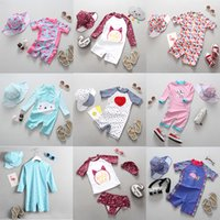 Wholesale cute baby clothing for girls resale online - Swimsuit Girl Children Swimming Suit for Girls Long Sleeve UV Protection Cute Flamingo One Piece Child Bathing Clothes Baby
