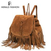 Wholesale backpack faux leather resale online - Casual Women Backpack Mini Tassels Rucksack Fashion Solid Women Shoulder Bag Satchel Faux Suede Leather Mochilas School Bag J190628