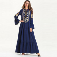 roupa islâmica jilbab abaya venda por atacado-Mulheres Vestido Muçulmano Floral Imprimir Longo Vestido Maxi Abaya Jilbab Kaftan Robe Islâmico Roupas Jilbab Femme Musulman