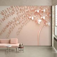 kabartma duvar kağıdı toptan satış-Özel Herhangi Bir Boyut Duvar Kağıdı 3D Stereo Gül Altın Kabartma Ağaç Fresk Modern Soyut Oturma Odası TV Yatak Odası Sanat D ...