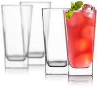 vasos de cerveza cuadrados al por mayor-Vasos Highball Sin plomo Cristal transparente Cristalería Copas elegantes para beber agua, vino, cerveza, cócteles y bebidas mixtas Top redondo, Bot cuadrado