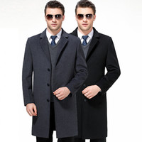 wolle kaschmir blend anzug großhandel-Casual Mens Wollmischung Anzug Kragen Mäntel Volle 2019 Winter Für Männliche Wolle Langen Mantel Kaschmir M-4XL