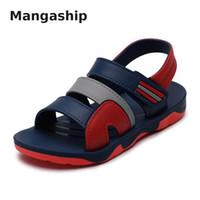 Wholesale big bottom sandals resale online - Summer new children s shoes solid color cool sandals soft leather soft boy students big children bottom beach sandals