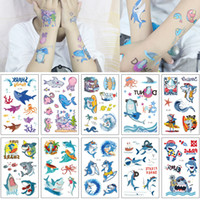 Wholesale shark whales for sale - Group buy Waterproof Sea Beach Party Shark Animal Tattoo Sticker Cute Cartoon Octopus Whale Pirate Design Kids Temporary Body Art Tattoo for Hands Arm