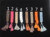 ingrosso bracciali segni-Fashion For Women Cotton Lettera firma firma del tessuto logo Bracciale tessuto Bangle Tassel Lace-up Embroidery Bracelet