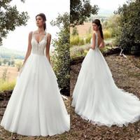 Wholesale low open wedding dresses resale online - New Arrival Garden A Line Wedding Dresses Sexy Open Low Back Appliqued Floor Length Boho Bridal Gowns