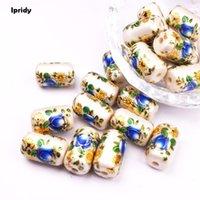 freie malerei muster großhandel-Kostenloser Versand 10 Teile / los Zylinder Perle weiß Japan Malerei Vintage Japanische Farbige Zeichnung Perlen die Unterseite des Blumenmusters