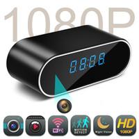 kablosuz kamera setleri toptan satış-Mini WiFi Kamera 1080 P HD Kameralar Alarm Ayarı Masa Dijital Saat IR Gece Görüş Kablosuz Wifi Saat Kamera KAM DVR Kamera CCTV kamera
