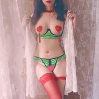 Retro Green Rose Satin Lace Bow Women Underwear Ultra-thin Open Bra Panties Set Intimates Bralette Panty Lingerie Sets
