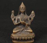 украшения китайского будды оптовых-Китайский старый приятный тибет старый коллекционный ручной литье будда статуэтка фигура украшения латунь заводские магазины