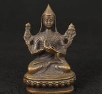 buddha chinês ornamentos venda por atacado-Chinês velho AGRADÁVEL MANUAL COLECIONÁVEL VELHA TIBET CASTING ORNAMENTO ESTÁTUA FIGURA decoração lojas de fábrica de latão