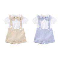 erkek çocuk bezleri toptan satış-Boy Sling Siyam Setleri Çocuklar Giysi Tasarımcısı Erkek Bebek Yay Düz Renk Kısa Kollu Kısa Pantolon Setleri 49