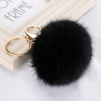 Wholesale silver photo charms resale online - Gold Key Chain Pom Pom Key Rings Fake Rabbit Fur Ball KeyChain Pompom Angel Girl Fourrure Pompon Women Bag Charms Jewelry