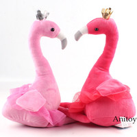Wholesale popular toys for girls resale online - Fashion Popular Pink Flamingo Aniaml Plush Toy Soft Stuffed Doll Soft Doll Cotton Girls Gift for Kids cm SH190915
