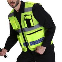 sicherheitshemden großhandel-Hochsichtbare reflektierende Unisex-Weste mit mehreren Taschen Konstruktionssicherheitsoberteilen Solide Night Outwear Working Security Shirt
