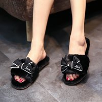 zapatos de invierno suave para el hogar al por mayor-Zapatillas de invierno Mujeres Moda Elegante Diapositivas de piel Dormitorio de felpa Zapatilla Coreano Sweet Bow Womens Home Shoes Plana Suave Cómodo