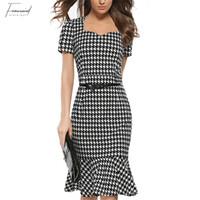 elegante houndstooth kleider großhandel-Frauen-elegantes Abnehmen Kleid-Sommer-Hahnentrittmuster-Arbeits-Büro-Kleid-Dame-reizvolle Abend-Partei Bodycon Tunikakleid Vestidos