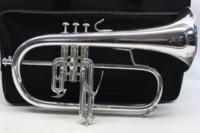 BACH 183 Bb Trumpet Flugelhorn Brass Silver-Plated B Flat Trumoet Flugelhorn Professional Musical Instrument with Accessories Case