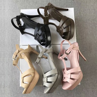 Wholesale ladies black dress sandals for sale - Group buy New designer Tribute Patent Soft Leather Platform Sandals high heel stiletto sandals T strap Lady Shoes Pumps cm and cm with box