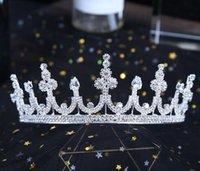 alta joyería barroca al por mayor-New Baroque Zircon De gama alta Novia Corona y novia Joyas Auriculares de primera calidad Cristal hecho a mano Boda