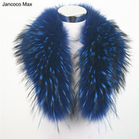 Wholesale real fur scarves for women resale online - Jancoco Max Colors Real Raccoon Fur Collar Women Winter Fashion Jacket Scarf Lining cm For Hood Trim S1080WS D19011004
