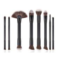 kits de herramientas para damas al por mayor-Doble Cabeza Maquillaje Pinceles Set Fundación Polvo Pestañas Maquillaje Cepillo Herramientas Lady Eyeshadow Brush Set 8 Unids / set RRA589