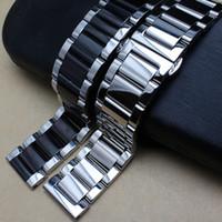 металлические наручные часы 24мм оптовых-Полированный металл черный серебристый ремешок 20мм 22мм 24мм из нержавеющей стали часы ремешок ремешок мужчины серебряный браслет замена прочную связь T190620