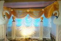 cortinas brancas de cachoeira venda por atacado-Decoração de casamento de cortina de palco de cachoeira de cenário de casamento branco puro