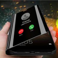 çevirme davaları çevir toptan satış-Clear View Kapak Telefon Kılıfı Için Samsung Galaxy S9 S8 S10 Artı A8 A7 2018 Not 9 8 A50 Samsung Galaxy Için Ayna Flip Case a40 A30 Durumda