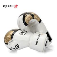 luvas de boxeo boxeo venda por atacado-Rexchi Kick Luvas De Boxe Para Mulheres Dos Homens Pu Karate Muay Thai Guantes De Boxeo Luta Livre Mma Sanda Treinamento Adultos Crianças Equipamentos C19040401