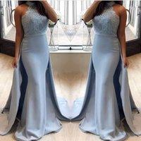mavi halter açık arka elbise toptan satış-Arapça Işık Sky Blue Mermaid Abiye 2019 Halter Aç Geri Aplikler Örgün Akşam Parti Törenlerinde Artı Boyutu Özelleştirilmiş