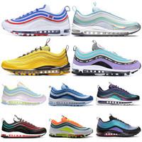 laufschuhe frauen lila großhandel-Nike Air Max 97 airmax shoes Herren Laufschuhe Throwback Future NEON SEOUL Triple Schwarz Weiß Bright Citron Damen Herren Trainer Sport Turnschuhe 36-45