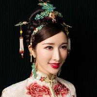 2f44110b13d0 Stile cinese tradizionale Copricapo da sposa Hairclip Accessori per capelli  da sposa Smalto blu Phoenix Crown Bride Forcine