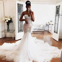 Wholesale fishtail wedding dress sheer lace for sale - Group buy South African Mermaid Wedding Dresses Sweetheart Appliques Fishtail Tulle Train Bridal Gowns Elegant Country Garden Wedding Dress Cheap