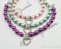 Wholesale charm dog collars resale online - Dog pearls necklace collar rhinestones charm pendant Pet Puppy Cat jewelry