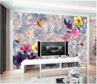 Wholesale 3d mural wallpaper flower for home for sale - Group buy 3d wall papers custom photo Silk wallpaper mural Tropical rainforest flower mural vintage background wall papers home decoration painting
